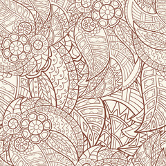 Hand-drawn seamless pattern of abstract geometric elements. Vintage colors .