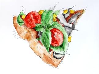 Pizza slice food sketch watercolor illustration