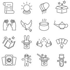 magic tricks icons thin line set. magic tricks and focus items
