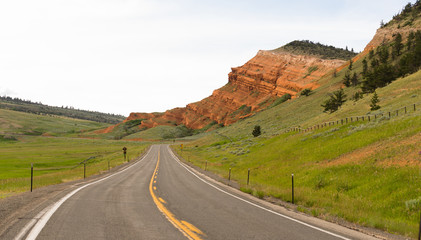 Two Lane Road Yellowstone National Park Wyoming United States