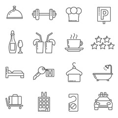 Hotel icons thin line icons set