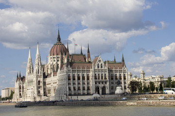 Parliament building in Budapest, Hungary on a sunny day