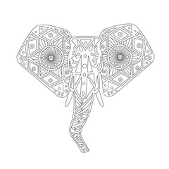 head of elephant zentangle style. hand drawn vector