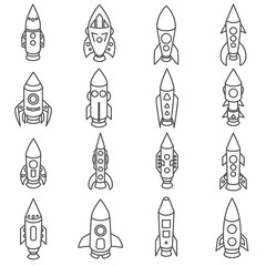 rocket linear icons on white background. set Icons of rockets of various shapes.collection of icons missiles in a thin line style