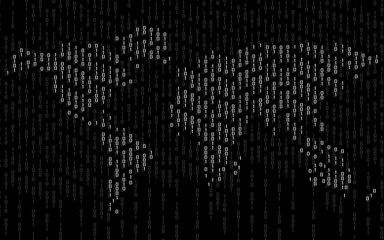 Abstract world map of binary computer code, technology background