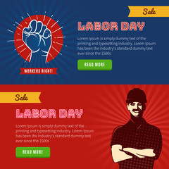 Labor Day banners. Retro and vintage celebrating banners