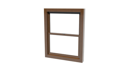 Sliding window with wooden frame isolated on white background, 3D illustration
