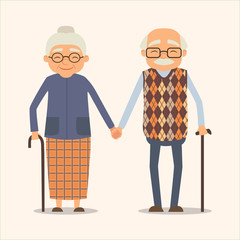 Grandparents, vector image of happy couple in cartoon style