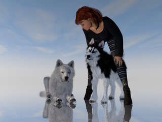 Wolf And Husky With Female Trainer 3D Rendering