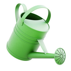 Green watering can isolated on white background. 3d rendering