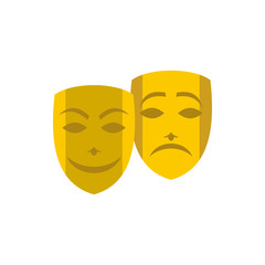Gold comedy and tragedy theatrical masks icon in flat style on a white background