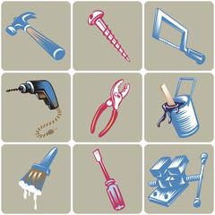 Hand drawn tool icons set