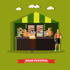 Beer festival concept vector illustration. People drink in outdoor restaurant. Waitress and bartender