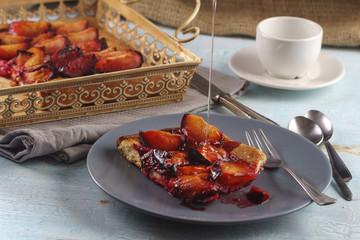 Closeup of a plum cake peace