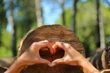 hands heart tree wood