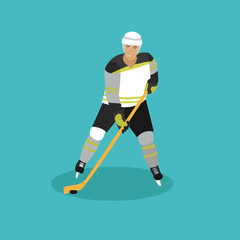 Vector illustration of ice hockey player. Man in sport uniform flat style design