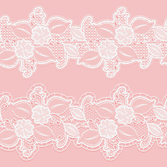 Seamless white lace border on a pink background. Horizontal elegant floral pattern for wedding invitations and cards.