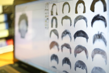 Examples of different hair for identikit on display.