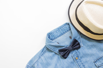 Men's casual outfits with jean shirt and brown hat, flat lay, top view background