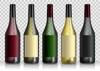 Set of transparent bottles of wine or liquor. Template for alcohol. Created with gradient mesh.