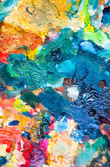Oil paints multicolored closeup abstract background