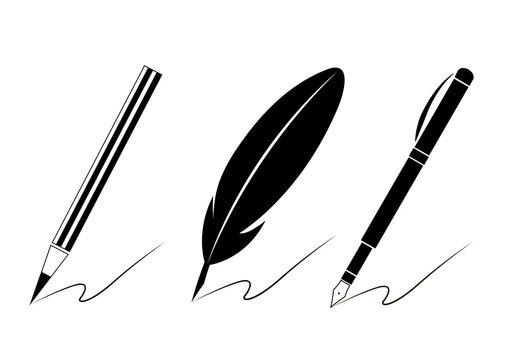 Set of pen icons.