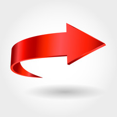 Red arrow and white background