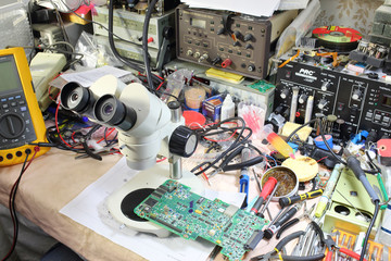 The microscope for microelectronics and other devices on a master workplace