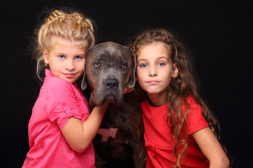Portrait of two beautiful girls and big dog isolated on black. Focus on dog
