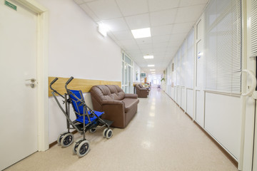 invalid carriage in the hospital corridor