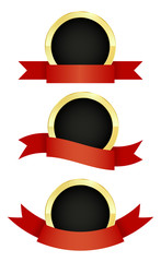 vector set of round golden emblem with red ribbons of different