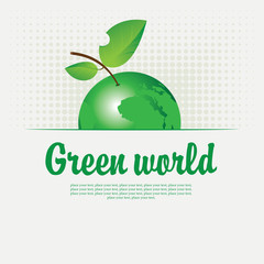 Green banner with with a picture of the planet in the form of an apple