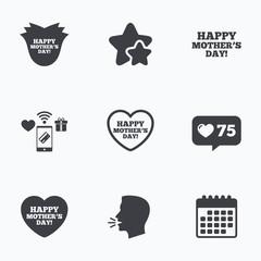 Happy Mothers's Day icons. Mom love symbols.