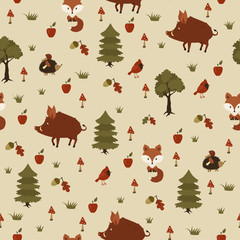 Wild animals in the forest. Seamless pattern