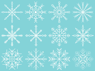 Wall Mural - snow flakes vector set