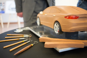 Ford car model made of clay, is on the table, next to lay tools at the press event for Ford in SREDA loft.