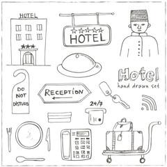 Vector hotel set doodle sketch illustration