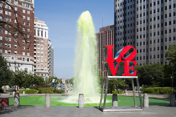 Green color fountain in Love park.