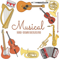 Hand drawn music background. Musical instruments vector illustration