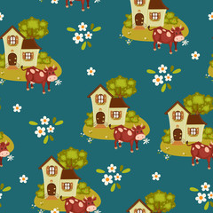 Seamless wallpaper with village house and cow.