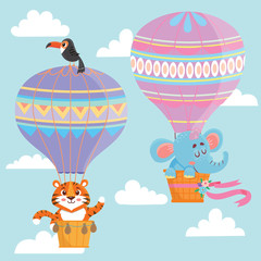 Hot air balloons with animals. Elephant and tiger Vector illustration