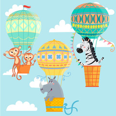 Hot air balloons with animals. Monkeys, rhinoceros and zebra.  Vector illustration