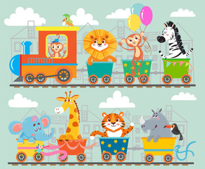 Funny animal on train. Vector illustration