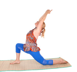 Yoga stretching from trainer.