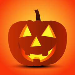 Halloween Pumpkin Jack Lantern. Holiday Vector Illustration Of Realistic Pumpkin