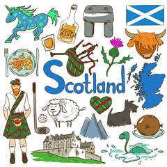 Colorful Travel Concept Of Scotland Symbols.