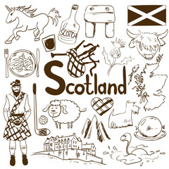 Travel Concept Of Scotland Symbols.