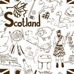 Graphic Sketch Scotland Seamless Pattern.