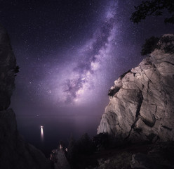 Milky Way. Beautiful night landscape with rocks, sea and starry sky. Nature Background