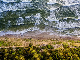 Aerial view of the Baltic Sea coast in Lithuania